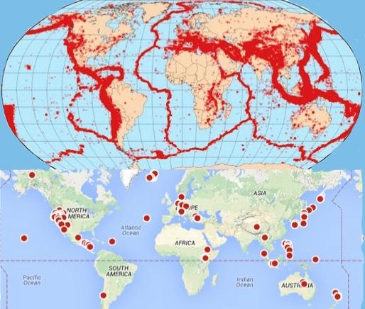 Actividad sísmica (arriba) y localización de plantas de generación geotérmica